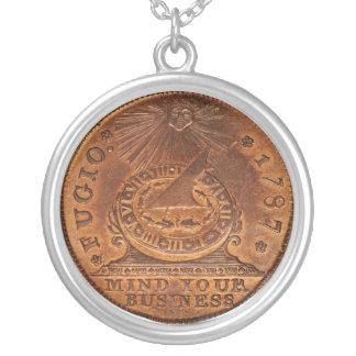 Fugioのセントの心あなたのビジネス銅のペニー シルバープレートネックレス