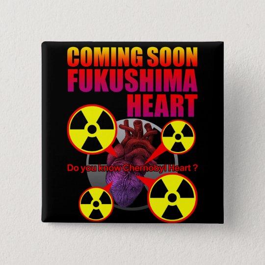 Fukushima heart 5.1cm 正方形バッジ