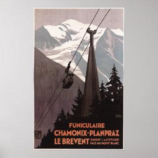 Funiculaire Le Breventのケーブル・カーポスター ポスター