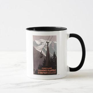 Funiculaire Le Breventのケーブル・カーポスター マグカップ