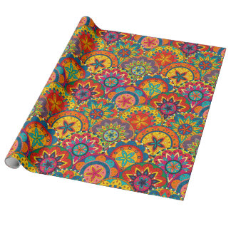 Funky Retro Colorful Mandala Pattern ラッピングペーパー