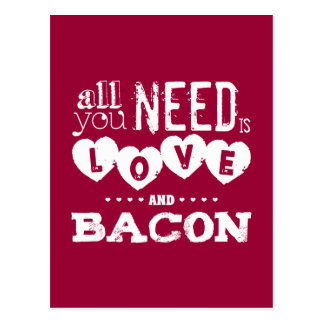 Funny All You Need is Love and Bacon ポストカード