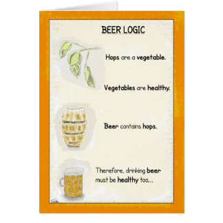 Funny Birthday Cartoon Card: Beer Logic カード