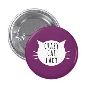funny Button熱狂するな猫の女性 3.2cm 丸型バッジ
