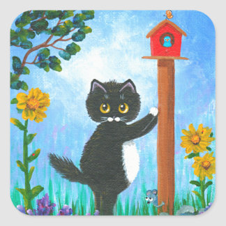 Funny Cat mouse bird Cartoon Creationarts スクエアシール