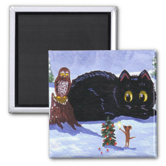 Funny Cat Mouse Owl Christmas Creationarts マグネット