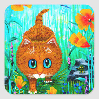 Funny Cat Orange Tabby Cartoon Creationarts スクエアシール
