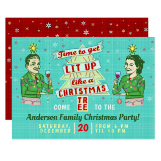 Funny Christmas Party Retro Adult Drinking Holiday カード