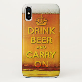 Funny drink beer and carry on iPhone x ケース