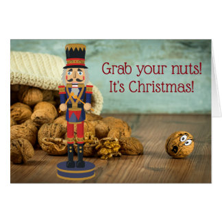 Funny Grab Your Nuts Nutcracker Christmas カード