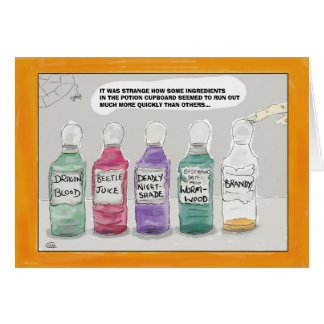 Funny Halloween Cartoon Greeting Card: Potions... カード