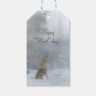 Funny Happy Holidays Gift Tags with Wolf and Snow ギフトタグ