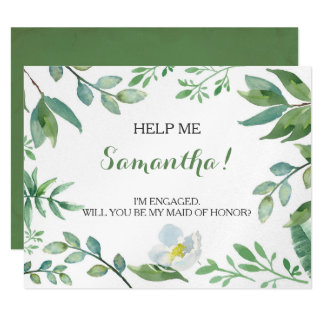 Funny MATRON OF HONOR PROPOSAL card, Greenery カード