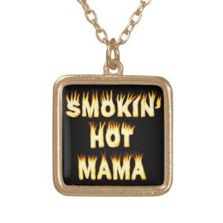 funny Mother Flames Smokinの熱いママ ゴールドプレートネックレス