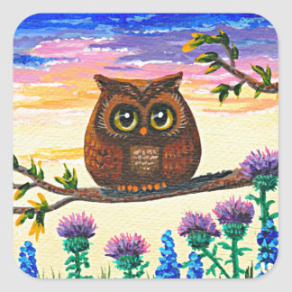 Funny Owl Cartoon Creationarts スクエアシール
