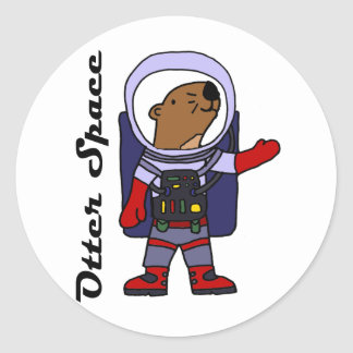 Funny Sea Otter Astronaut in Space Suit Cartoon ラウンドシール