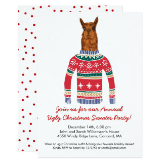 Funny Ugly Christmas Sweater Party with Cute Llama カード