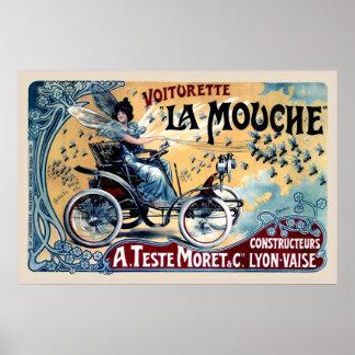 Funny Vintage Car Poster Copy Voiturette La Mouche ポスター