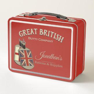 funny Vintage Great British Butty Company メタルランチボックス