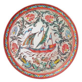 furledレプリカの民芸陶器のギリシャのヨット プレート