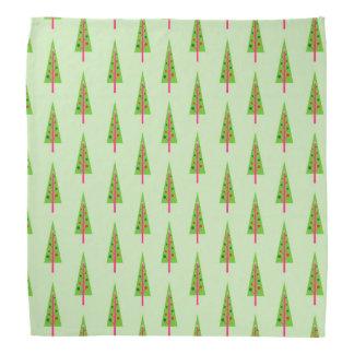 Furoshikiの緑の布のクリスマスツリー バンダナ