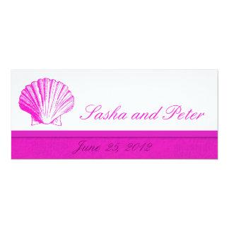 Fusciaの貝のビーチ結婚式の招待状 カード
