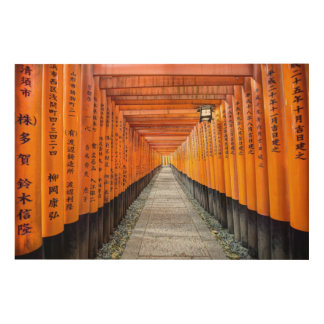 Fushimi Inariの神社木キャンバス ウッドウォールアート
