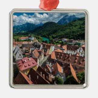 Fussen -ババリア-ドイツ シルバーカラー正方形オーナメント