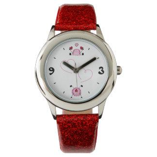 Fuzziesおよびハートのかわいい~のピンク、赤および黒 腕時計