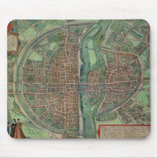 Gによる「Civitates Orbis Terrarum」からのパリの地図、 マウスパッド