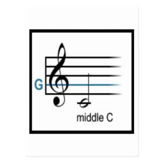 Gのクレフ、音符記号のバー ポストカード
