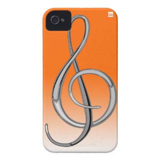 Gのクレフ、音符記号音楽iPhone 4の穹窖の箱のオレンジ Case-Mate iPhone 4 ケース