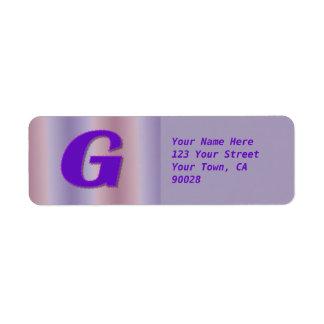 gのシンプルな紫色のモノグラム ラベル