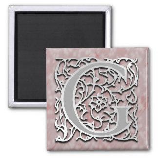 """Gのモノグラム""""銀石造りの""""の正方形の磁石 マグネット"""