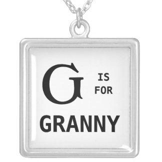 Gはモノグラムのなおばあさんのモノグラムのペンダントのためです シルバープレートネックレス