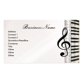 Gクレフ、音符記号及び音楽ノートの名刺