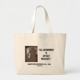 G.K. Chestertonはすべての政府醜い必要です ラージトートバッグ