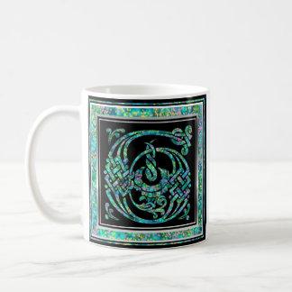 """G """"Masselle青い""""のカスタムなモノグラムのマグ コーヒーマグカップ"""