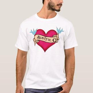 G Tattoo Heartカスタムな伯母さん及び旗のギフト Tシャツ