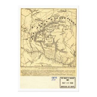 Gainesの製造所の1862内戦の地図の戦場 キャンバスプリント