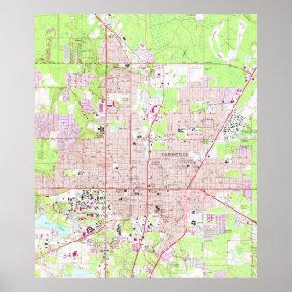 Gainesvilleフロリダ(1966年)のヴィンテージの地図 ポスター