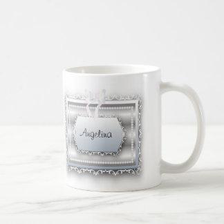 Galatiansの2:20の引用文のモノグラムの真珠の花嫁 コーヒーマグカップ