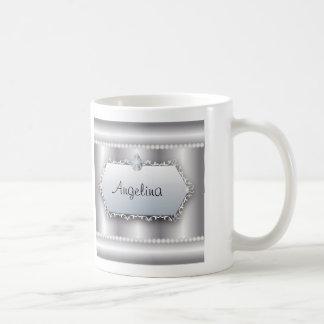 Galatiansの2:20の聖書が付いているモノグラムの真珠はDiamを引用します コーヒーマグカップ