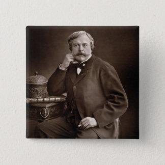 「Galerie Contempからのエドモンドde Goncourt (1822-96年) 5.1cm 正方形バッジ