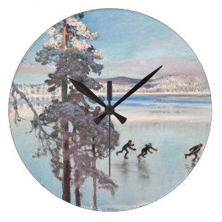 Gallen-Kallelaのスケート選手の柱時計 ラージ壁時計