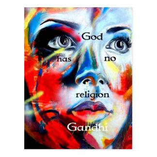 Gandhiの精神的な引用語句の神に宗教がありません ポストカード