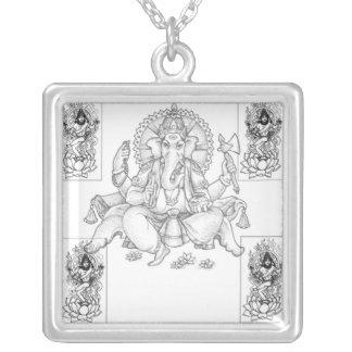 GaneshおよびShiva シルバープレートネックレス