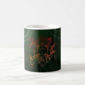 Ganesh象の曼荼羅のオレンジ緑のヨガアジア コーヒーマグカップ
