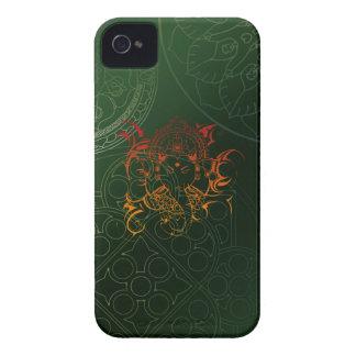 Ganesh象の曼荼羅のオレンジ緑のヨガアジア Case-Mate iPhone 4 ケース