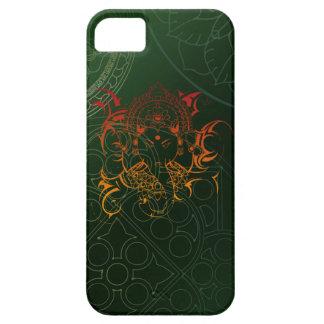 Ganesh象の曼荼羅のオレンジ緑のヨガアジア iPhone SE/5/5s ケース